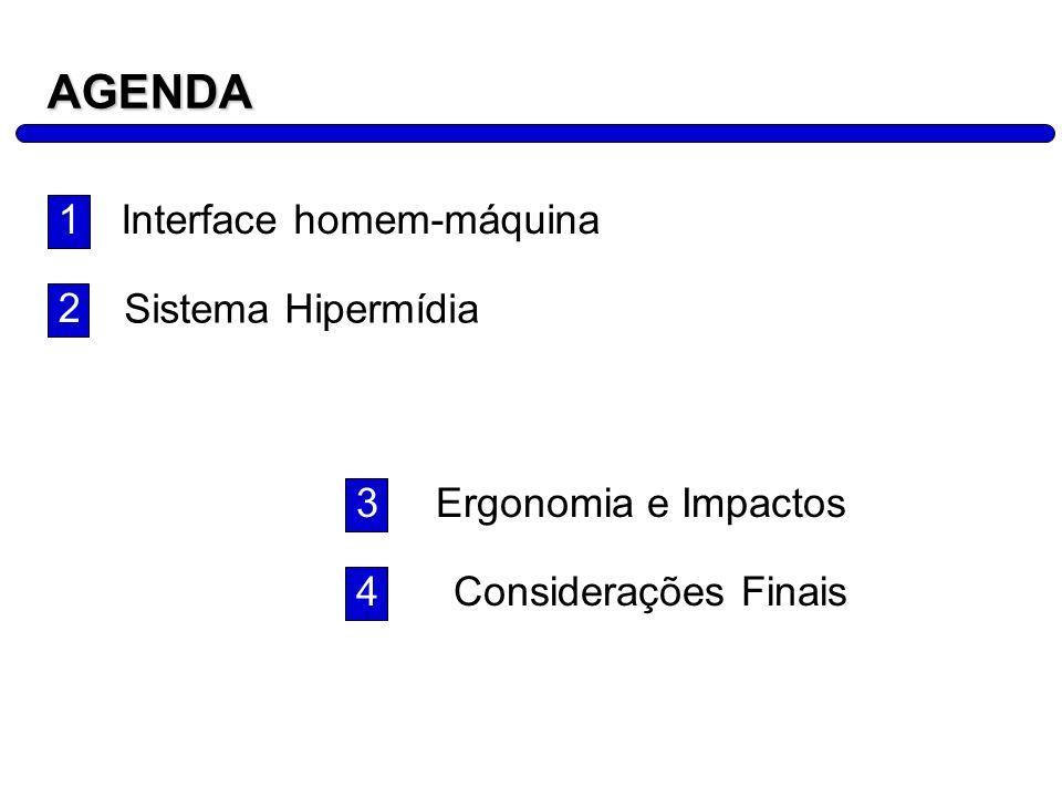 AGENDA 1 Interface homem-máquina 2 Sistema Hipermídia 3
