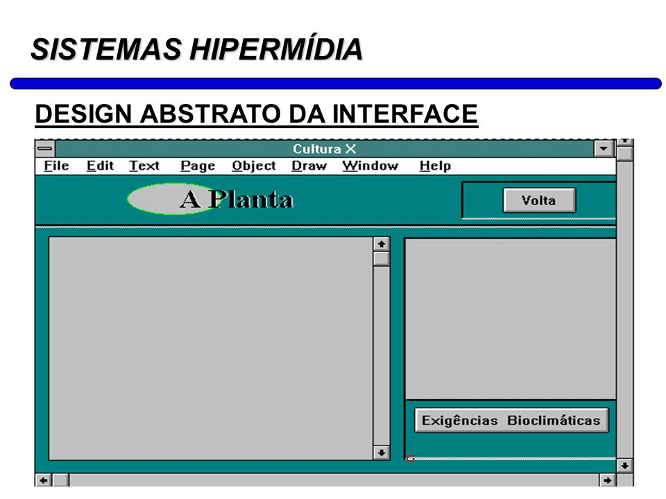 SISTEMAS HIPERMÍDIA DESIGN ABSTRATO DA INTERFACE