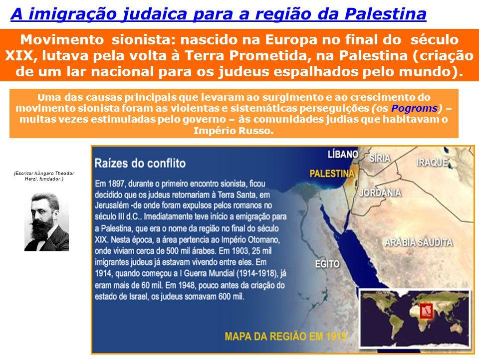 A imigração judaica para a região da Palestina