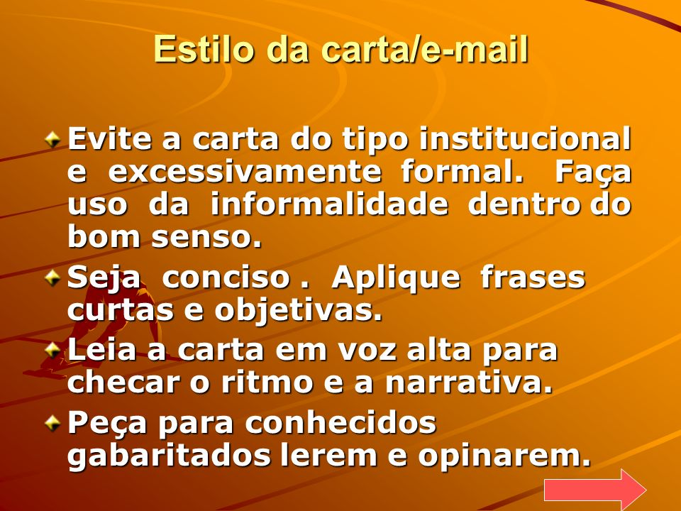 Estilo da carta/e-mail