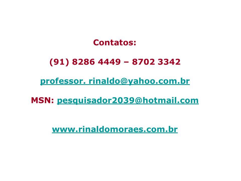 professor. rinaldo@yahoo.com.br MSN: pesquisador2039@hotmail.com