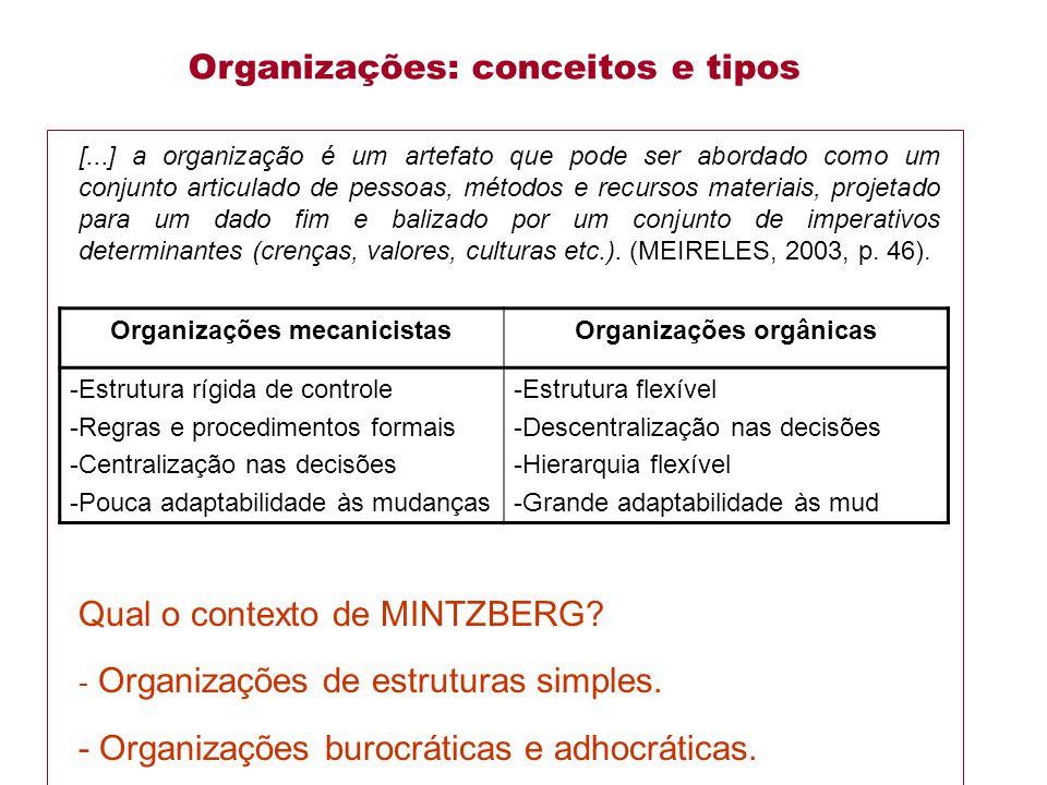 Organizações: conceitos e tipos
