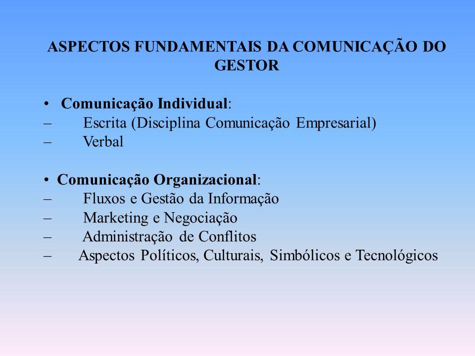 ASPECTOS FUNDAMENTAIS DA COMUNICAÇÃO DO GESTOR