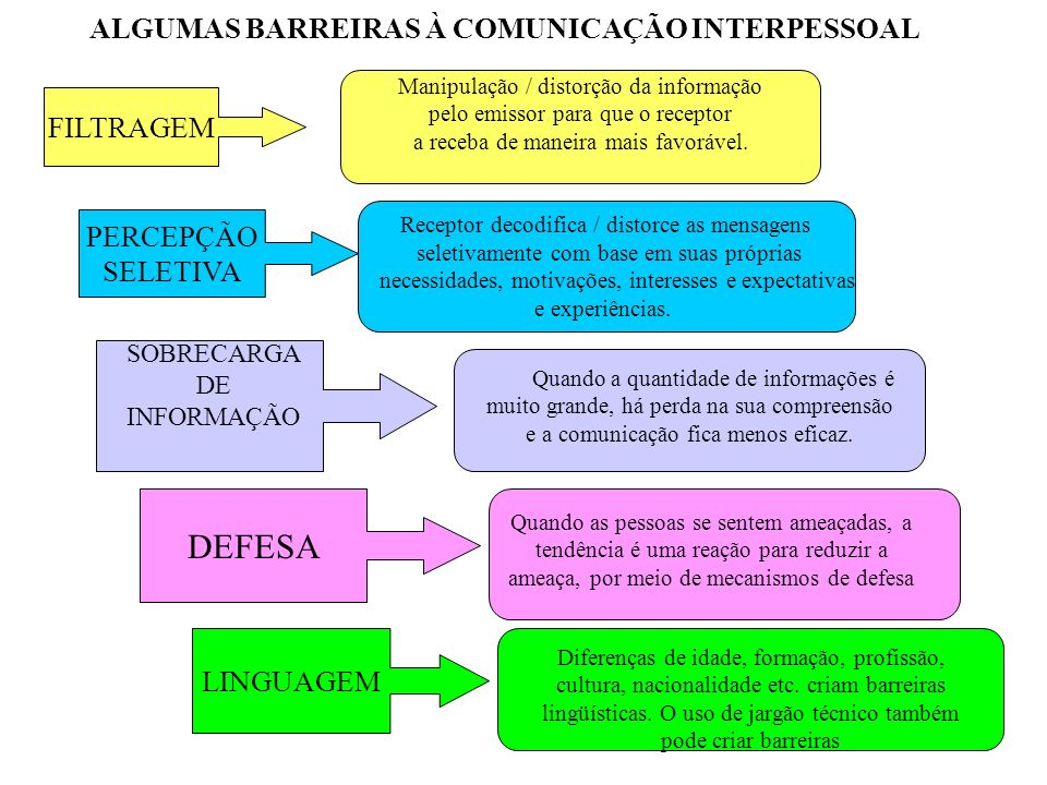 ALGUMAS BARREIRAS À COMUNICAÇÃO INTERPESSOAL