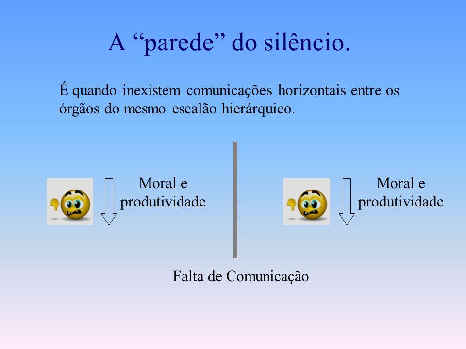 A parede do silêncio. É quando inexistem comunicações horizontais entre os órgãos do mesmo escalão hierárquico.