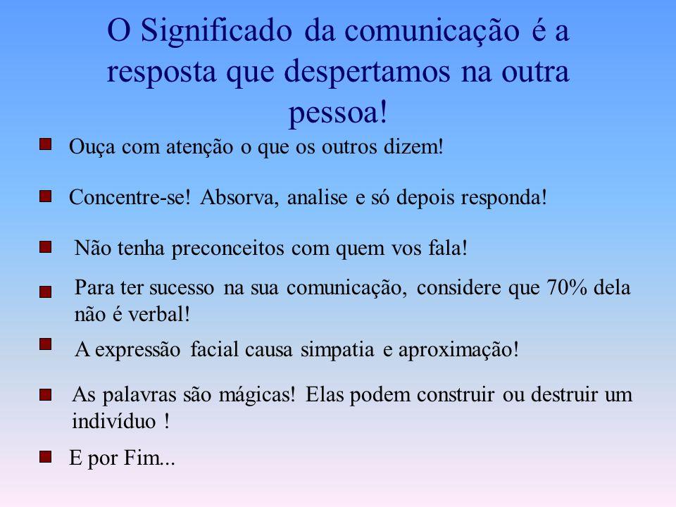 O Significado da comunicação é a resposta que despertamos na outra pessoa!