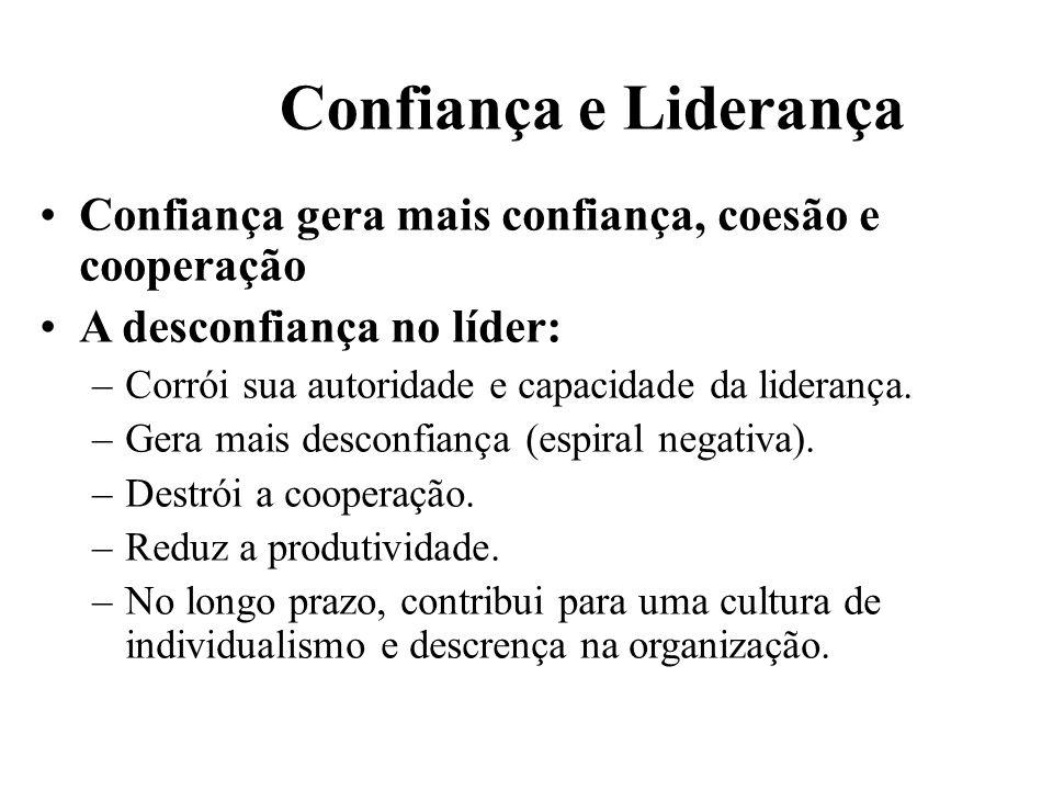 Confiança e Liderança Confiança gera mais confiança, coesão e cooperação. A desconfiança no líder: