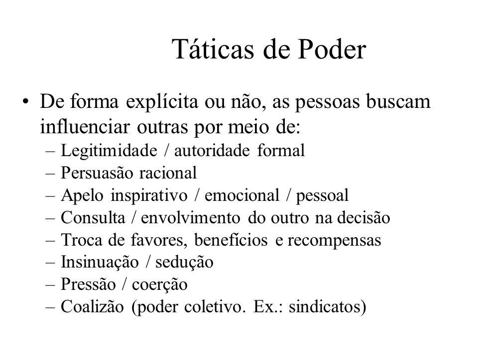 Táticas de Poder De forma explícita ou não, as pessoas buscam influenciar outras por meio de: Legitimidade / autoridade formal.
