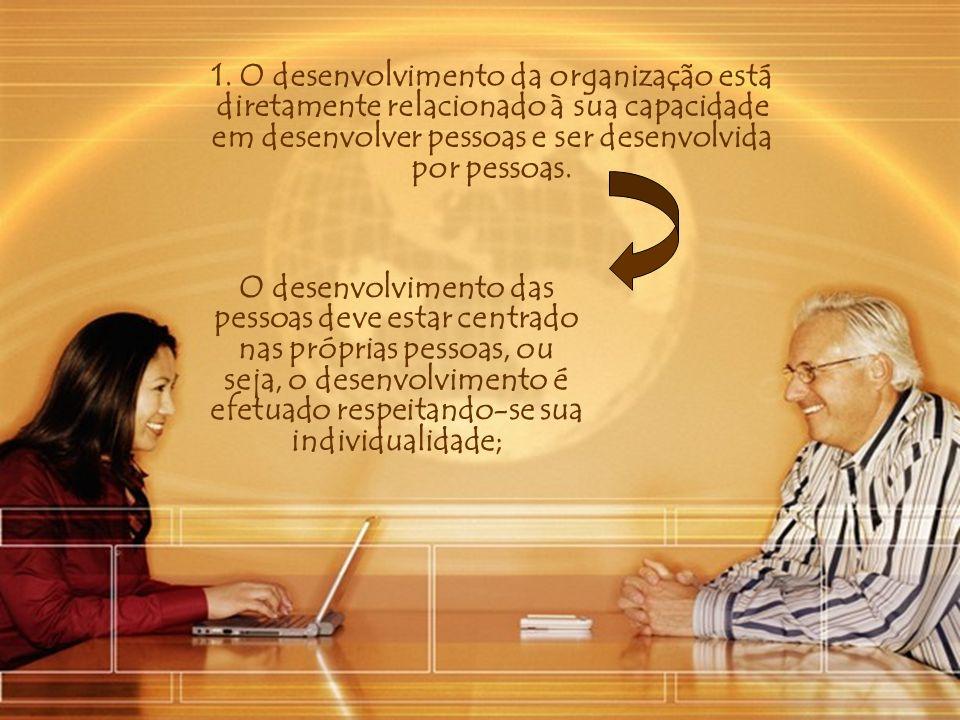 1. O desenvolvimento da organização está diretamente relacionado à sua capacidade em desenvolver pessoas e ser desenvolvida por pessoas.