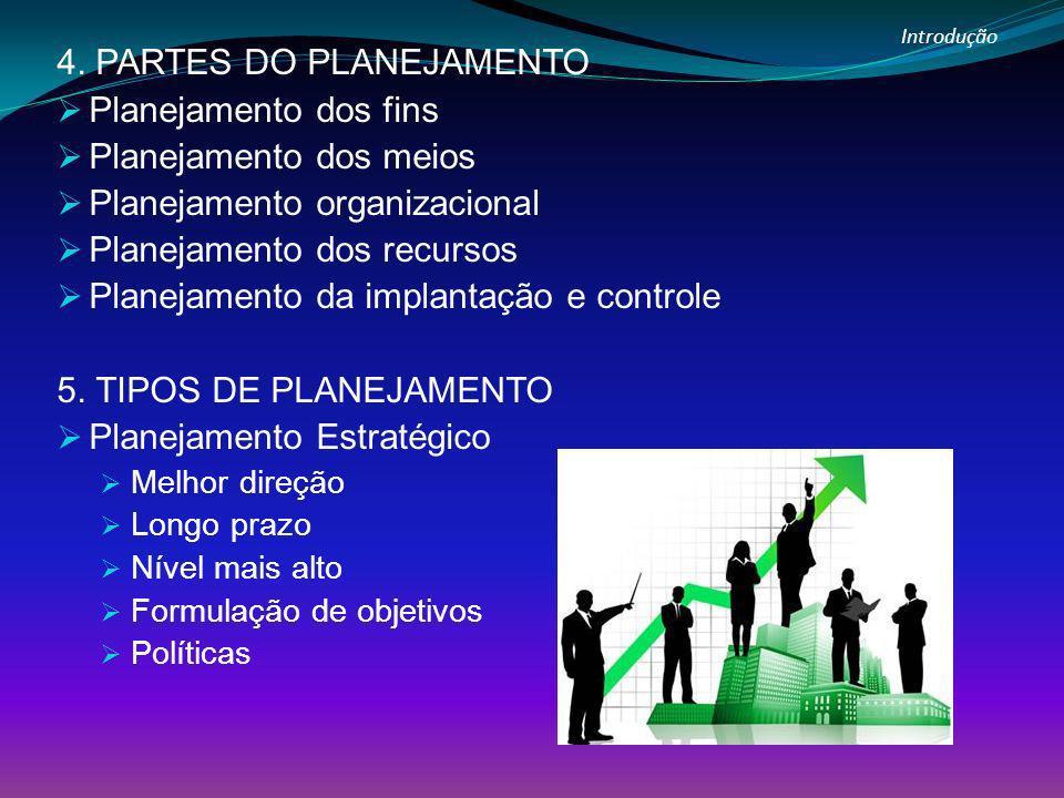 4. PARTES DO PLANEJAMENTO Planejamento dos fins Planejamento dos meios