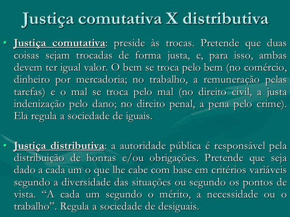 Justiça comutativa X distributiva