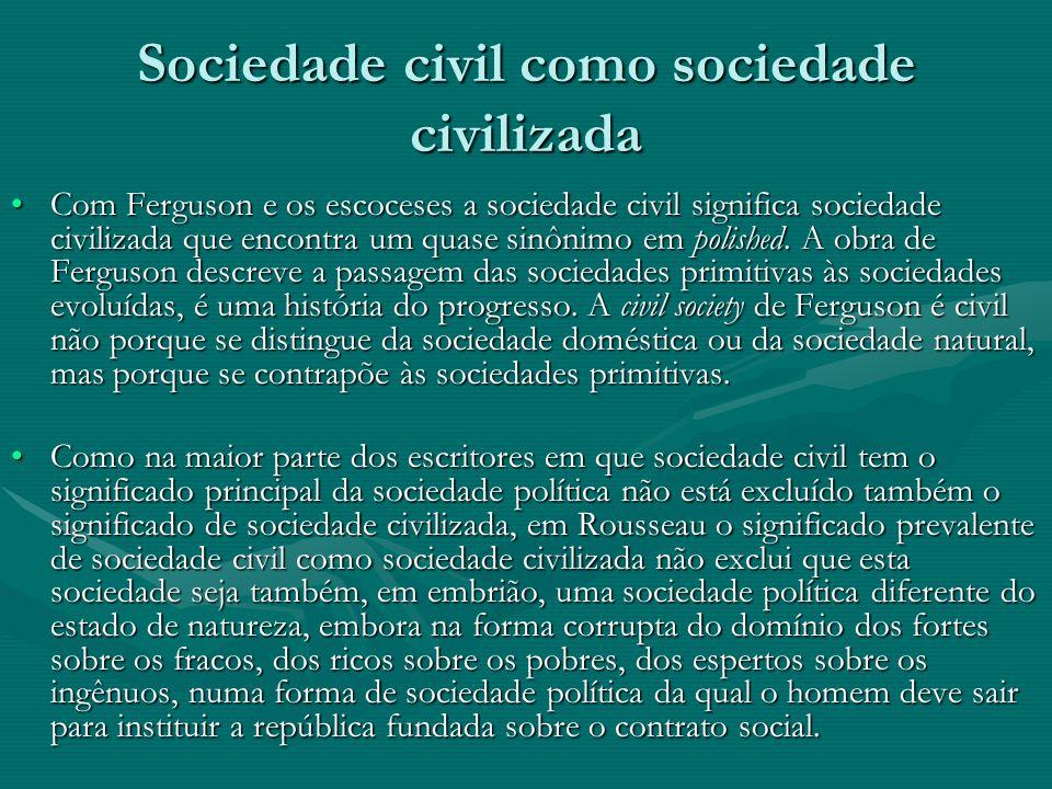 Sociedade civil como sociedade civilizada