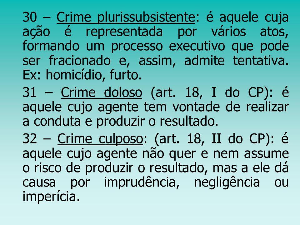 30 – Crime plurissubsistente: é aquele cuja ação é representada por vários atos, formando um processo executivo que pode ser fracionado e, assim, admite tentativa. Ex: homicídio, furto.