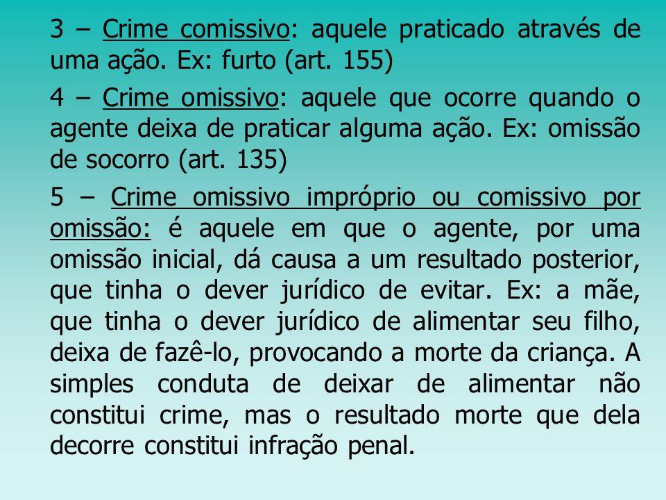 3 – Crime comissivo: aquele praticado através de uma ação