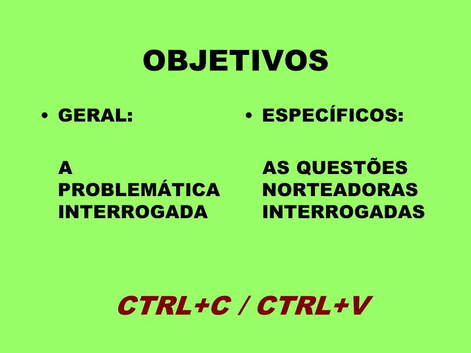 OBJETIVOS CTRL+C / CTRL+V GERAL: A PROBLEMÁTICA INTERROGADA