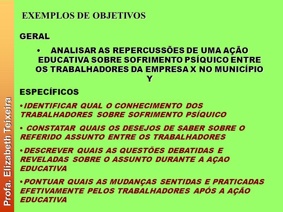 Profa. Elizabeth Teixeira EXEMPLOS DE OBJETIVOS