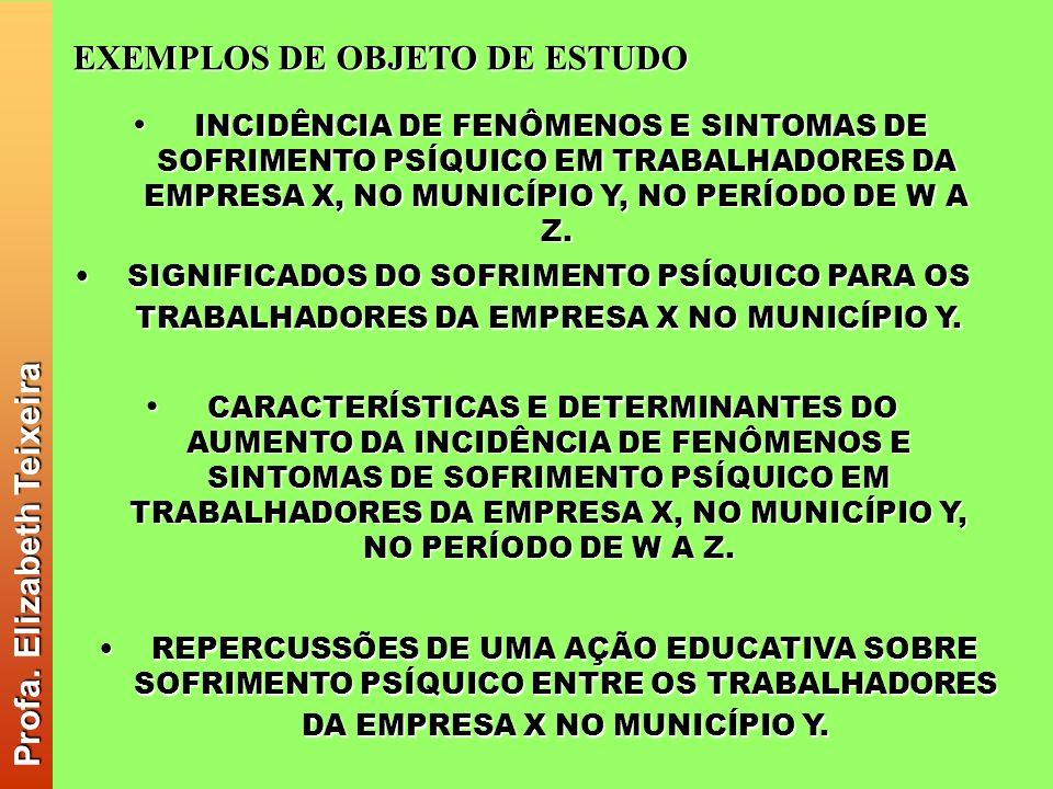 Profa. Elizabeth Teixeira EXEMPLOS DE OBJETO DE ESTUDO