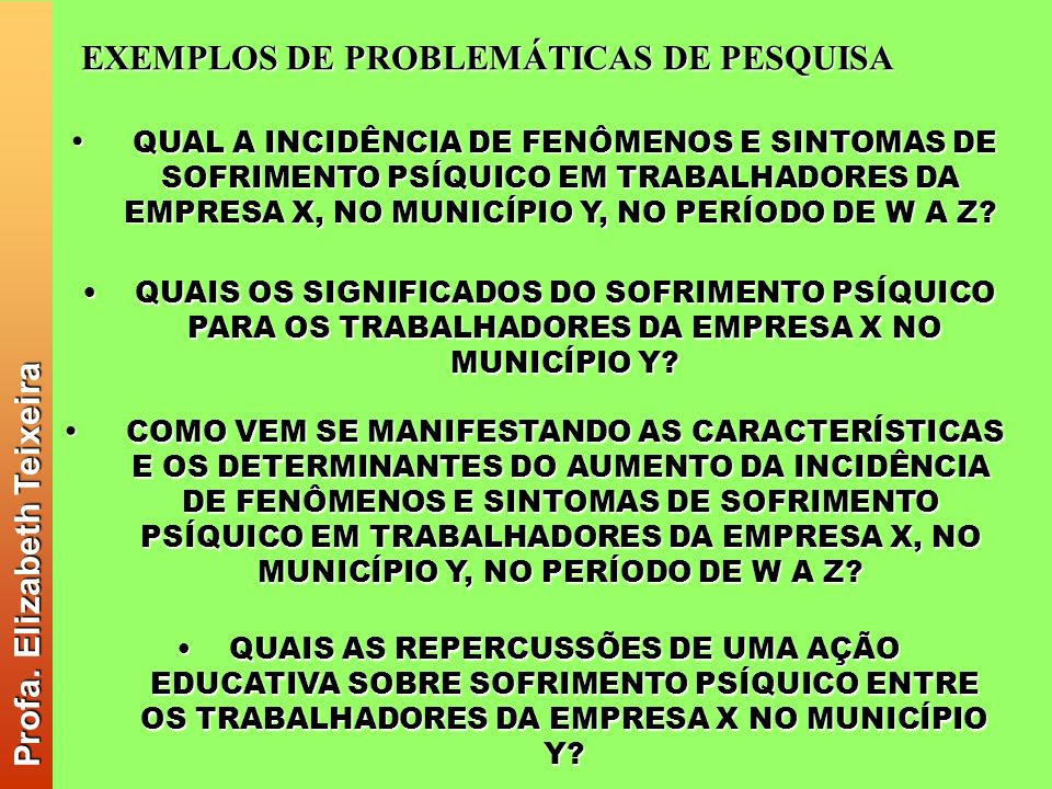 Profa. Elizabeth Teixeira EXEMPLOS DE PROBLEMÁTICAS DE PESQUISA