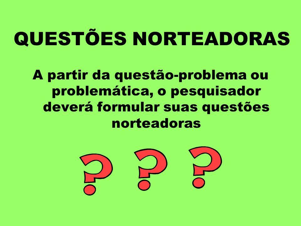 QUESTÕES NORTEADORASA partir da questão-problema ou problemática, o pesquisador deverá formular suas questões norteadoras.