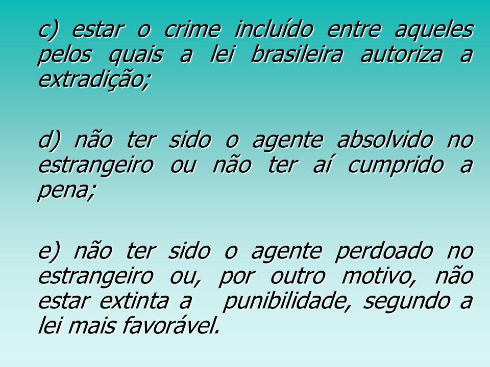c) estar o crime incluído entre aqueles pelos quais a lei brasileira autoriza a extradição;