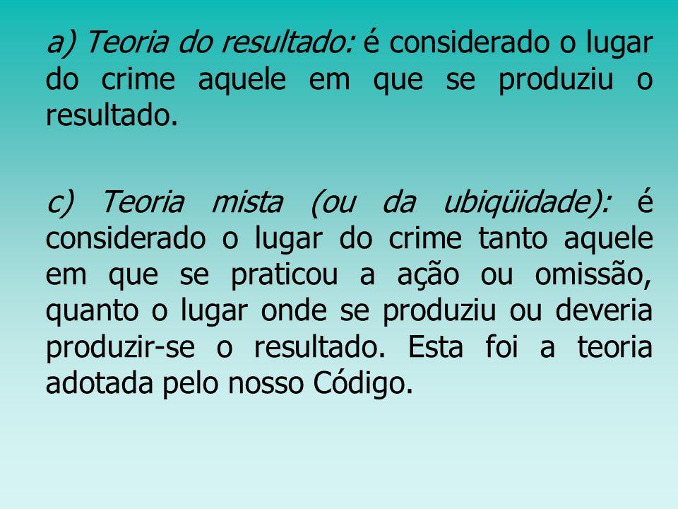a) Teoria do resultado: é considerado o lugar do crime aquele em que se produziu o resultado.
