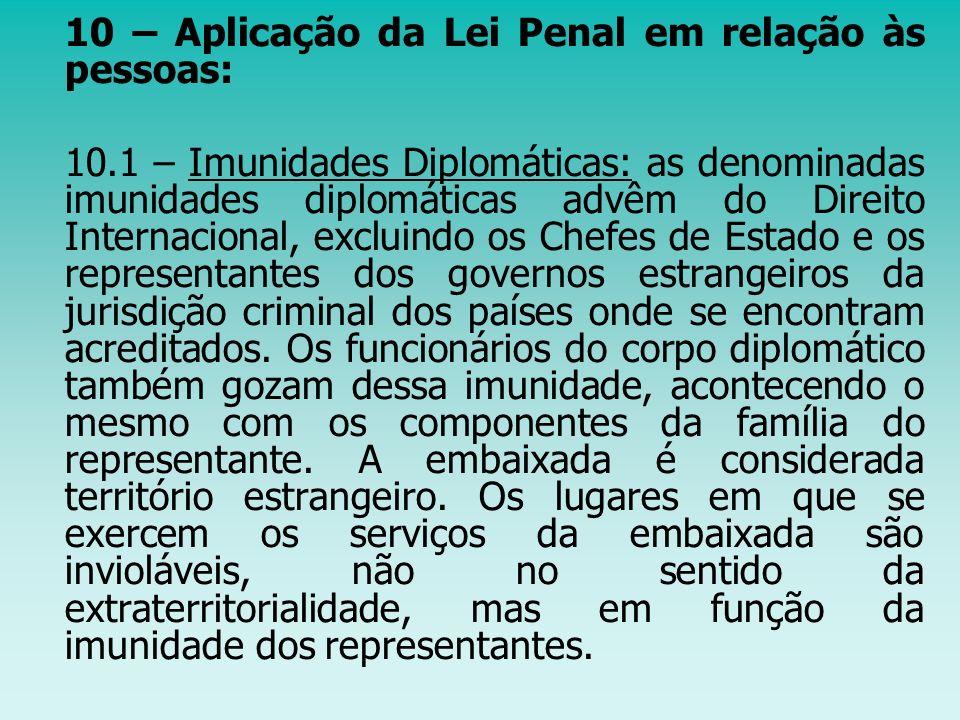 10 – Aplicação da Lei Penal em relação às pessoas: