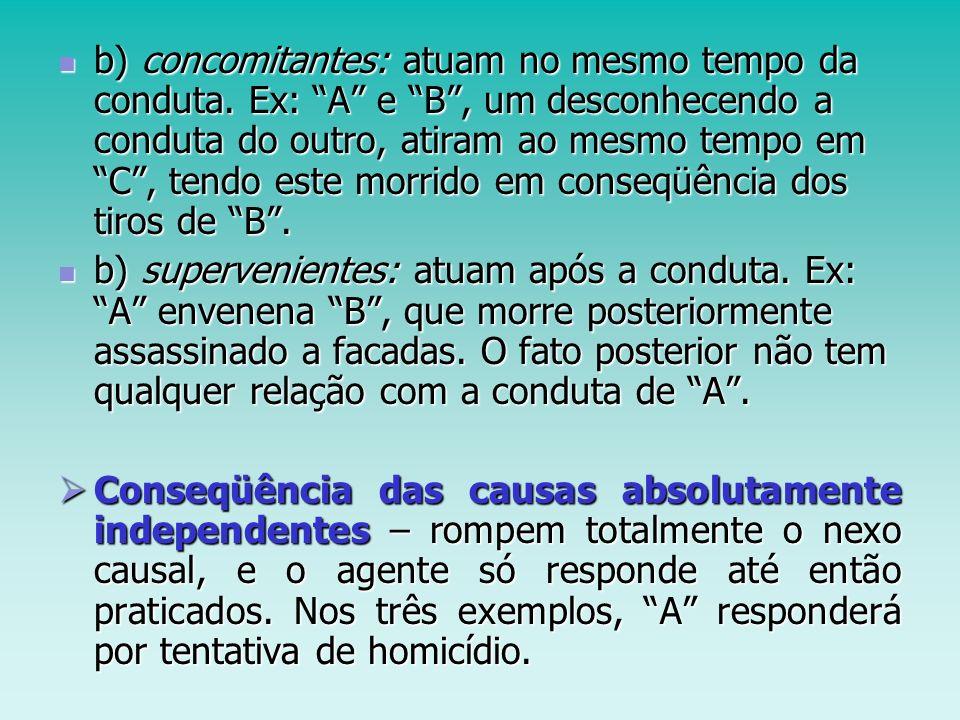 b) concomitantes: atuam no mesmo tempo da conduta
