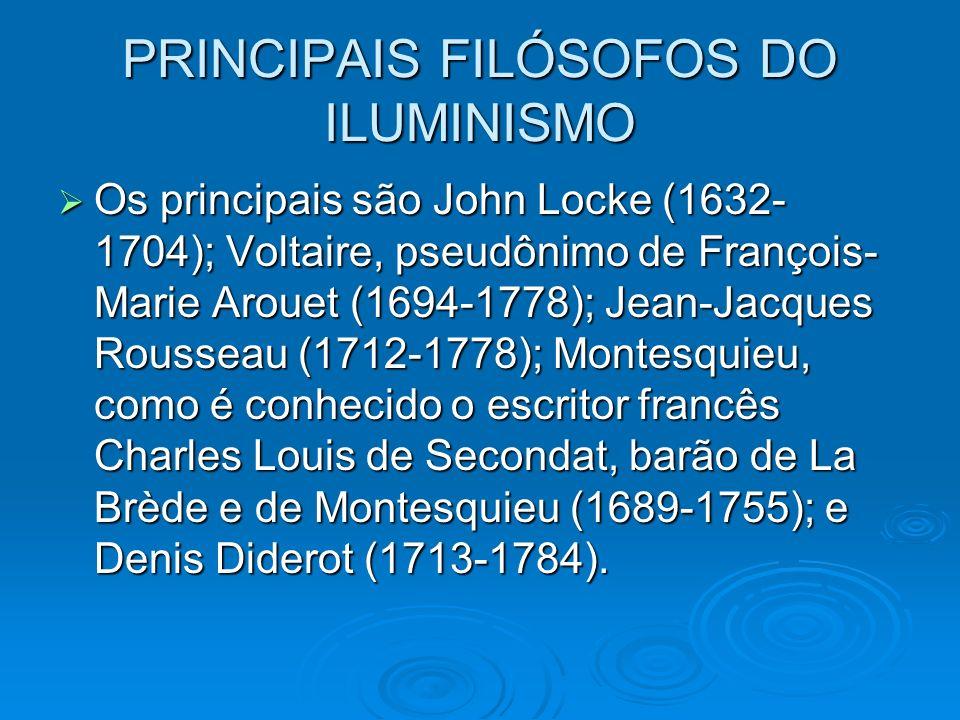 PRINCIPAIS FILÓSOFOS DO ILUMINISMO