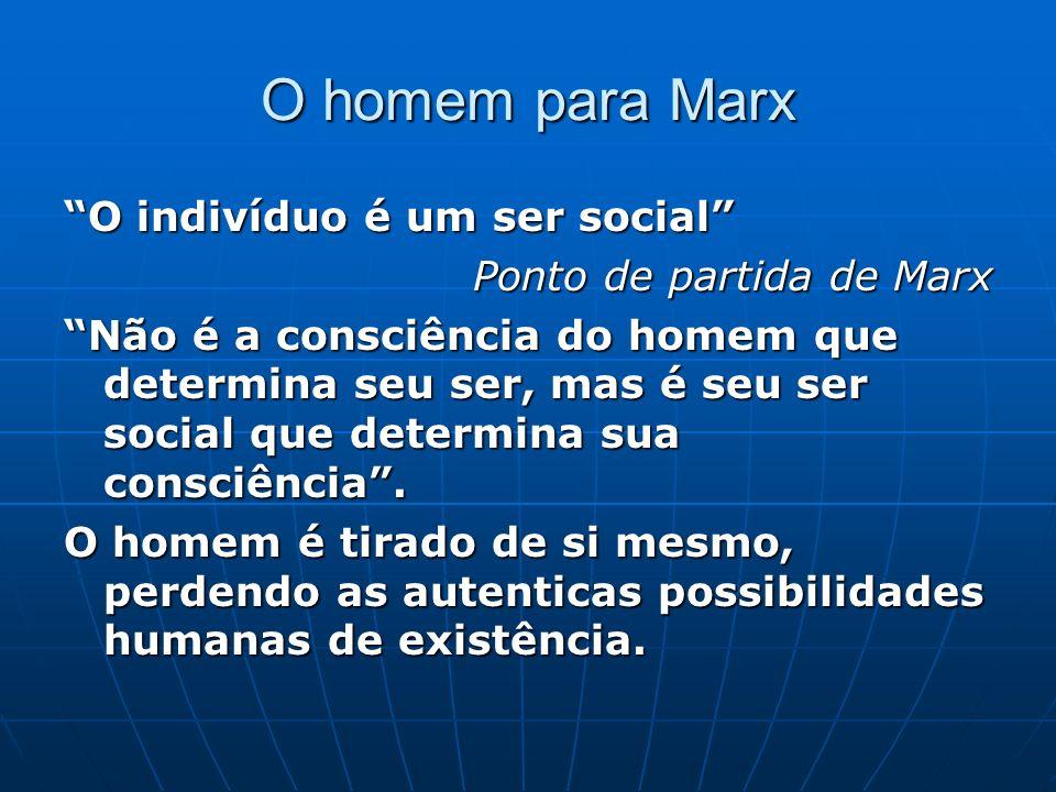 O homem para Marx O indivíduo é um ser social