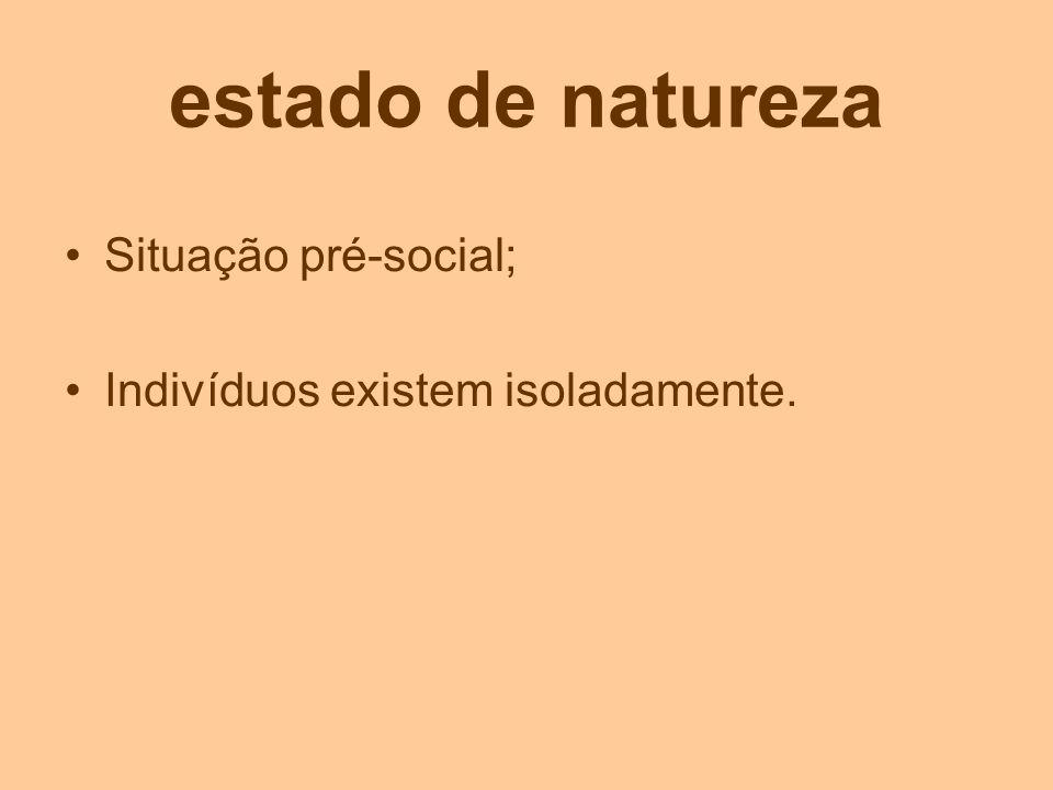 estado de natureza Situação pré-social;