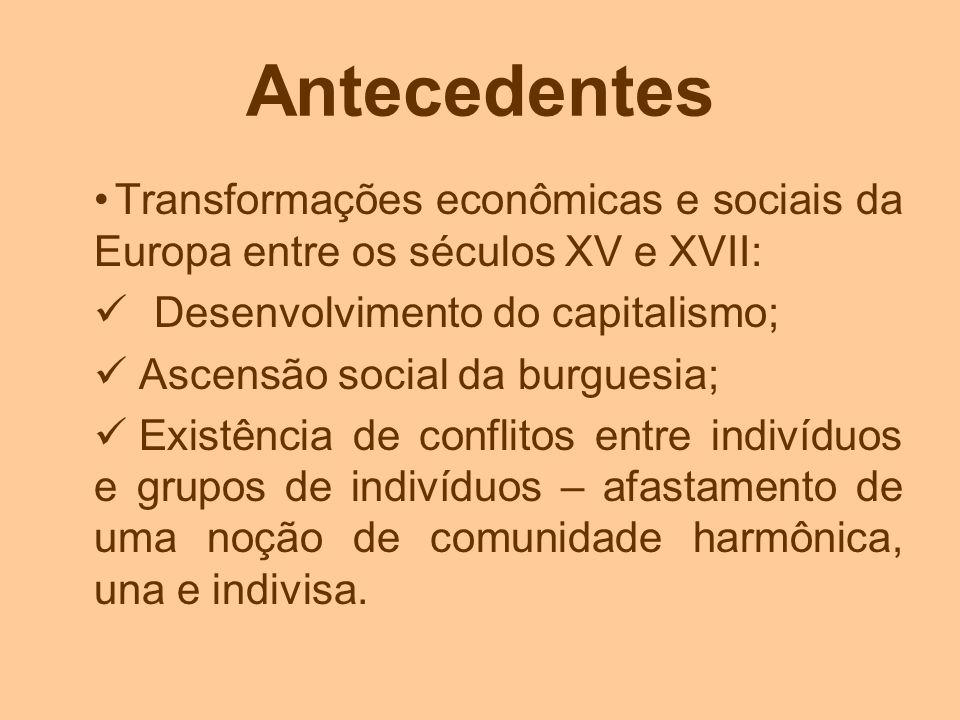 Antecedentes Transformações econômicas e sociais da Europa entre os séculos XV e XVII: Desenvolvimento do capitalismo;