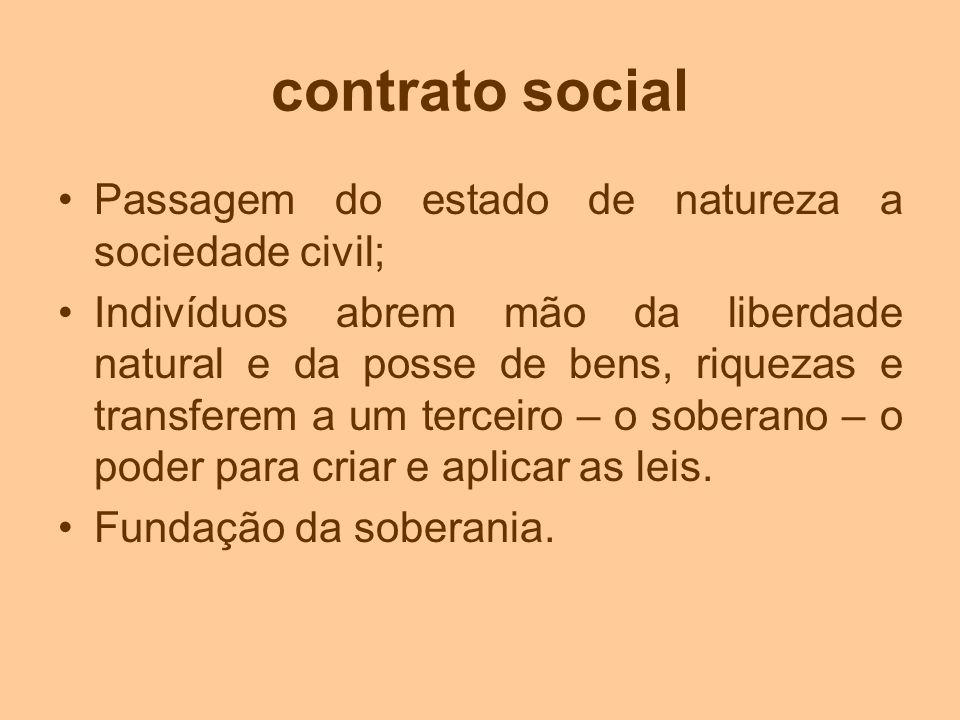 contrato social Passagem do estado de natureza a sociedade civil;