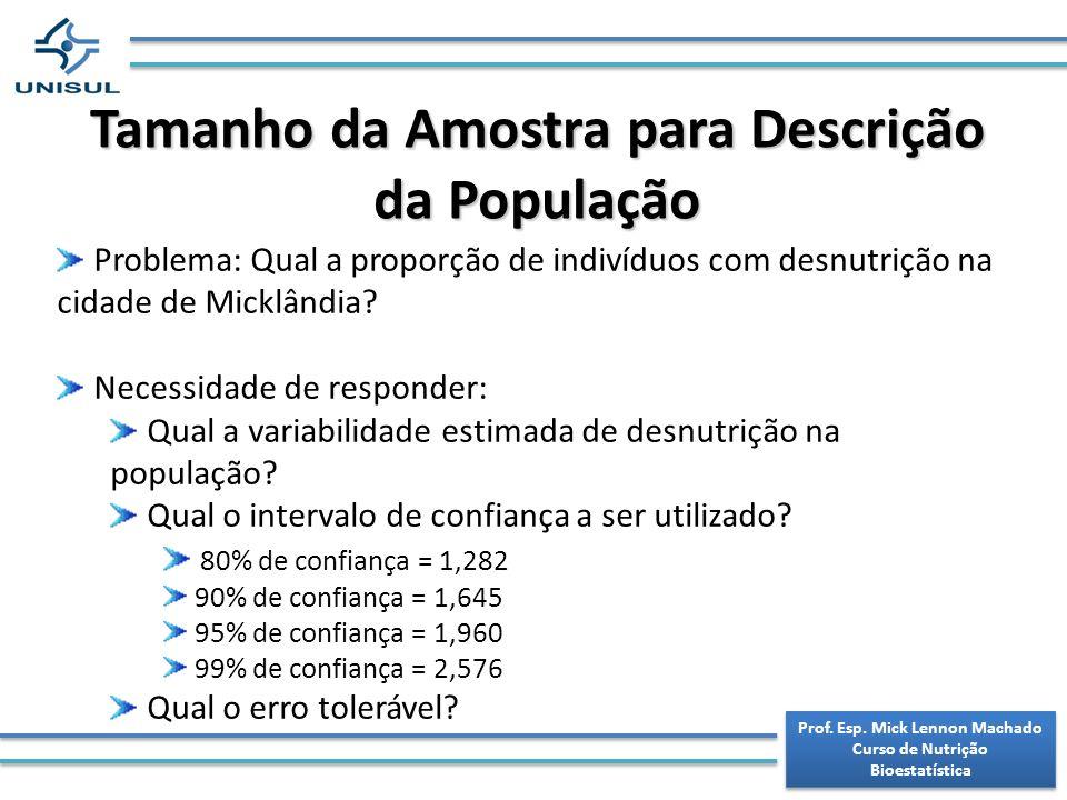 Tamanho da Amostra para Descrição da População