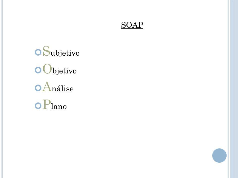 SOAP Subjetivo Objetivo Análise Plano