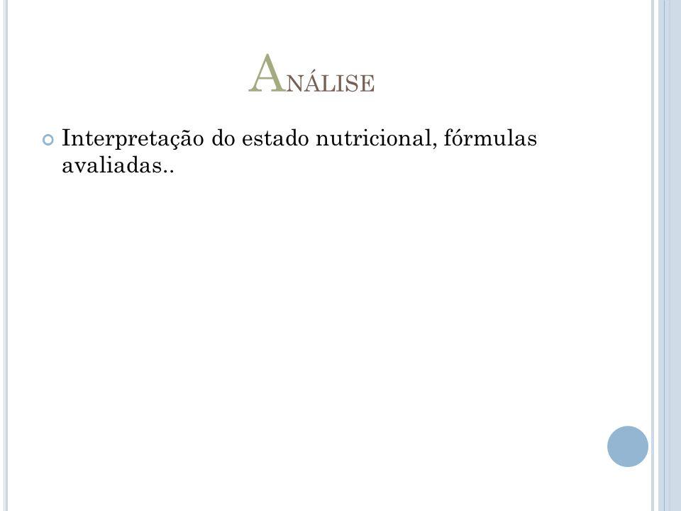 Análise Interpretação do estado nutricional, fórmulas avaliadas..