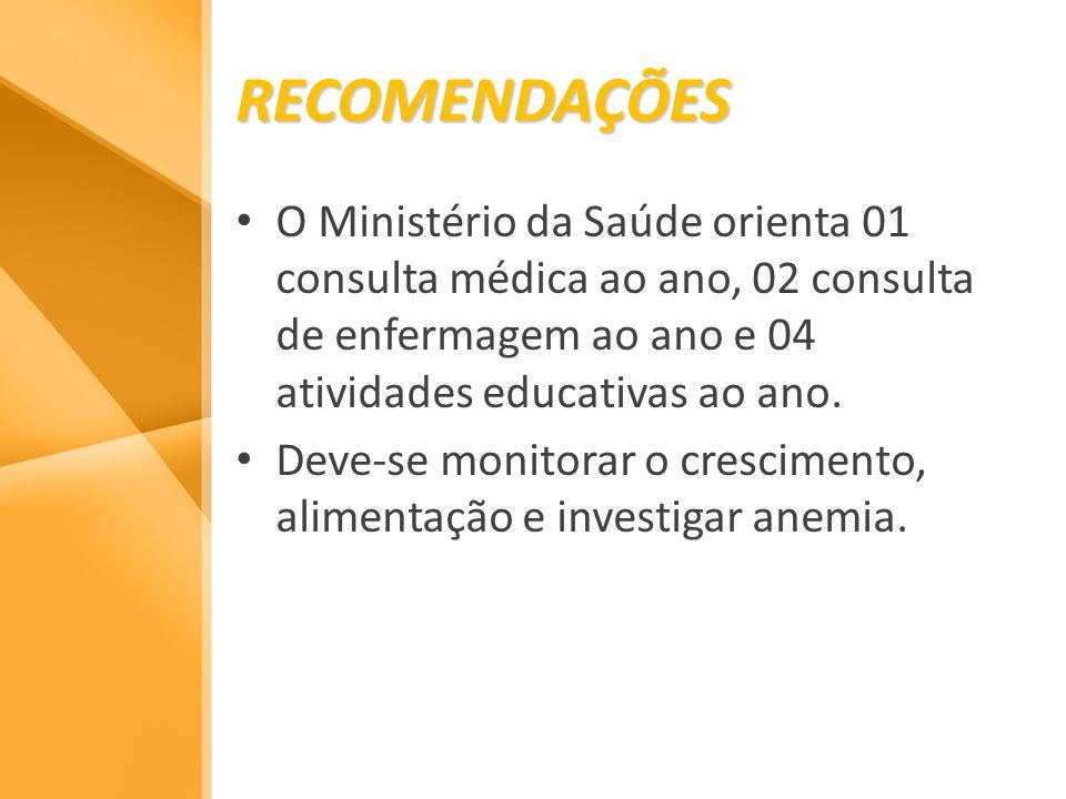 RECOMENDAÇÕESO Ministério da Saúde orienta 01 consulta médica ao ano, 02 consulta de enfermagem ao ano e 04 atividades educativas ao ano.