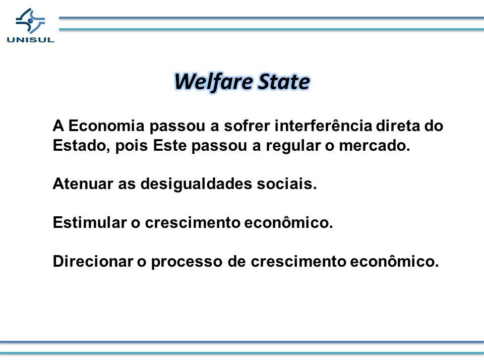 Welfare State A Economia passou a sofrer interferência direta do Estado, pois Este passou a regular o mercado.