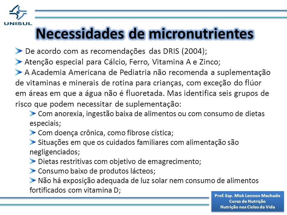 Necessidades de micronutrientes