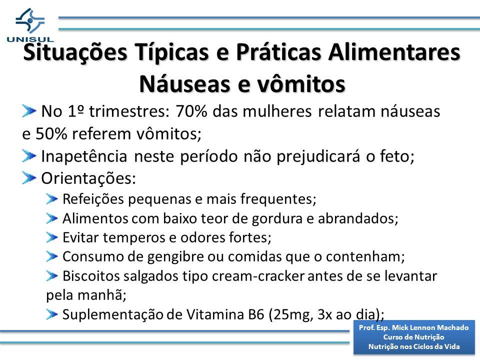 Situações Típicas e Práticas Alimentares Náuseas e vômitos