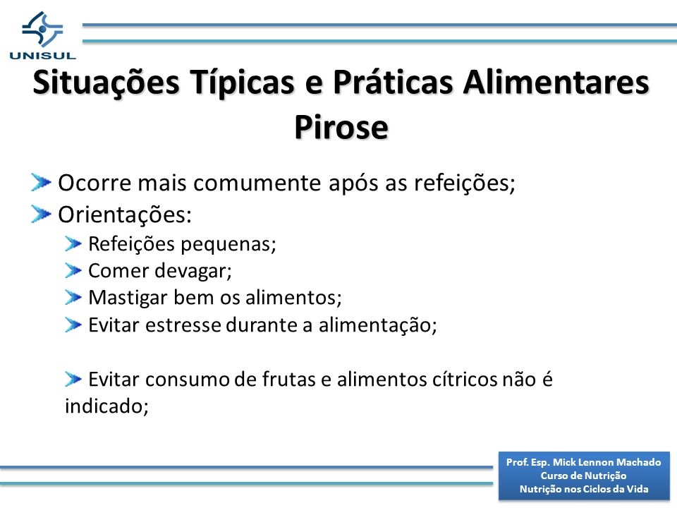 Situações Típicas e Práticas Alimentares Pirose