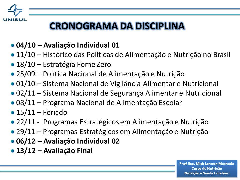 CRONOGRAMA DA DISCIPLINA Prof. Esp. Mick Lennon Machado