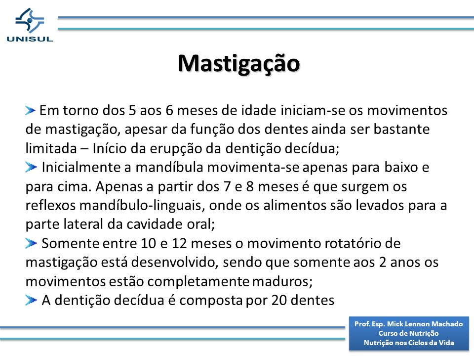 Prof. Esp. Mick Lennon Machado Nutrição nos Ciclos da Vida