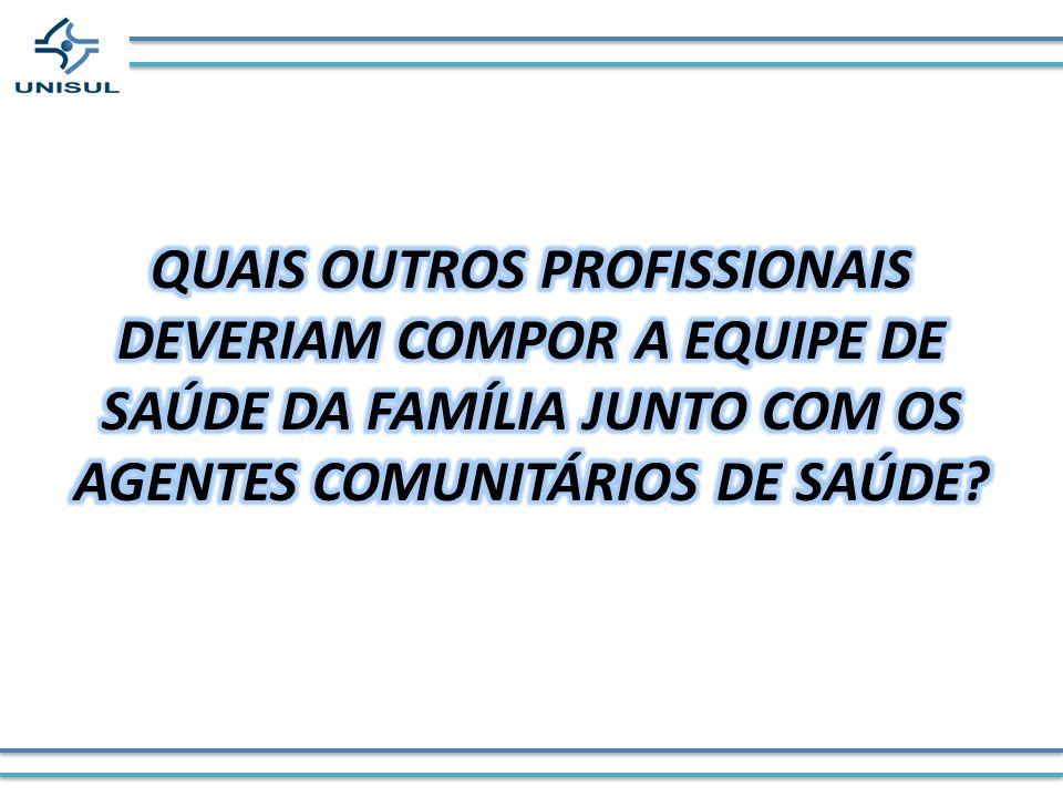 QUAIS OUTROS PROFISSIONAIS DEVERIAM COMPOR A EQUIPE DE SAÚDE DA FAMÍLIA JUNTO COM OS AGENTES COMUNITÁRIOS DE SAÚDE