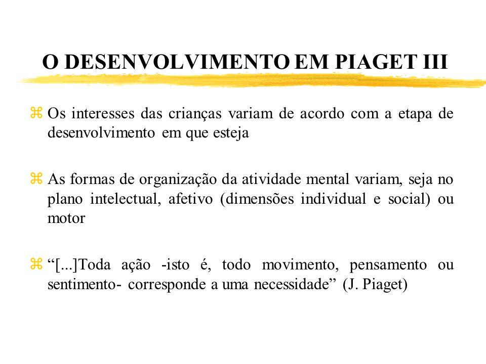 O DESENVOLVIMENTO EM PIAGET III