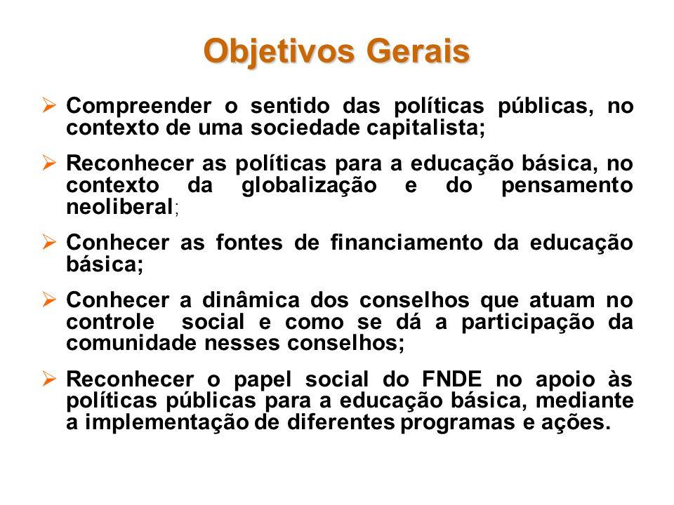 Objetivos Gerais Compreender o sentido das políticas públicas, no contexto de uma sociedade capitalista;