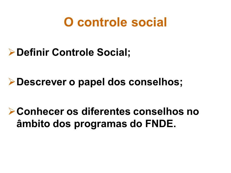 Definir Controle Social; Descrever o papel dos conselhos;