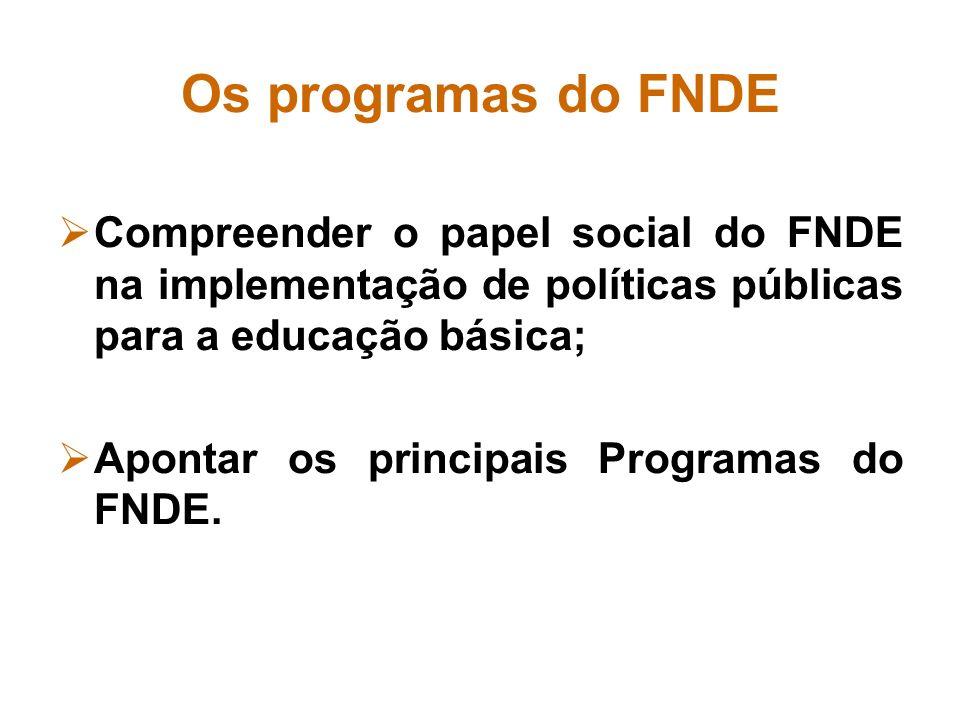 Os programas do FNDECompreender o papel social do FNDE na implementação de políticas públicas para a educação básica;