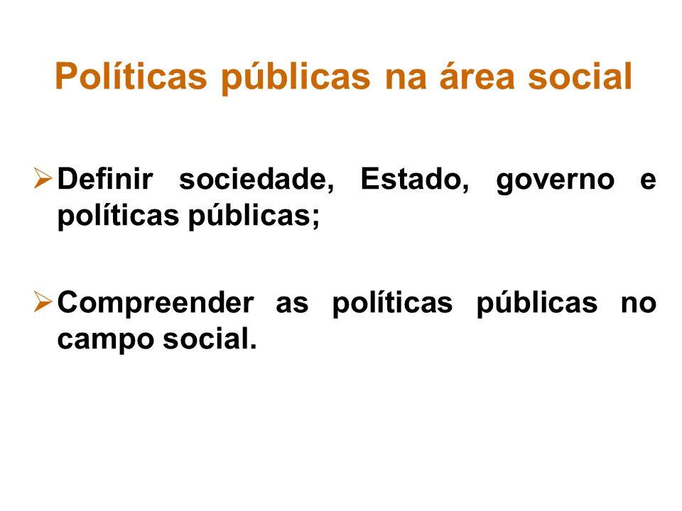 Políticas públicas na área social