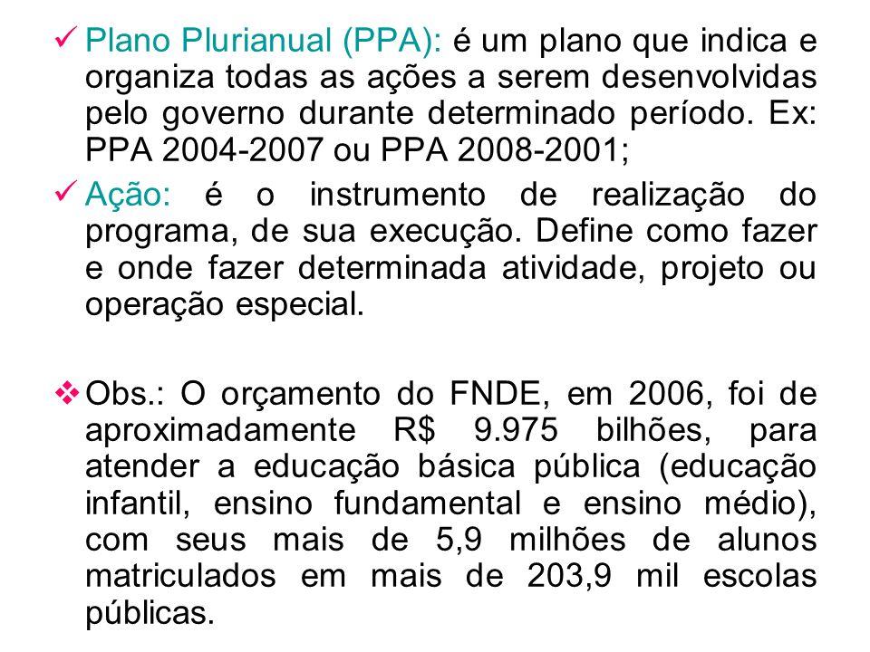Plano Plurianual (PPA): é um plano que indica e organiza todas as ações a serem desenvolvidas pelo governo durante determinado período. Ex: PPA 2004-2007 ou PPA 2008-2001;