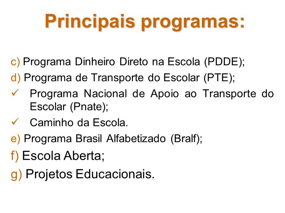 Principais programas: